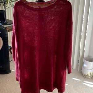 Eileen Fisher Red Linen Oversized Sweater Tunic S